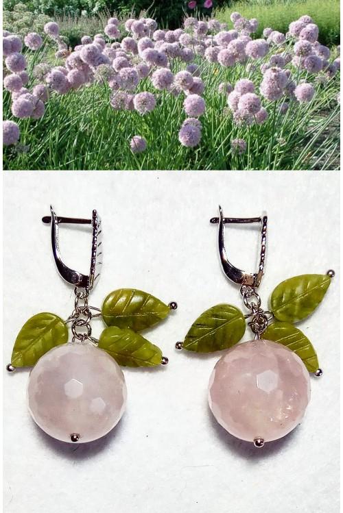 Серьги Аллиум розовый