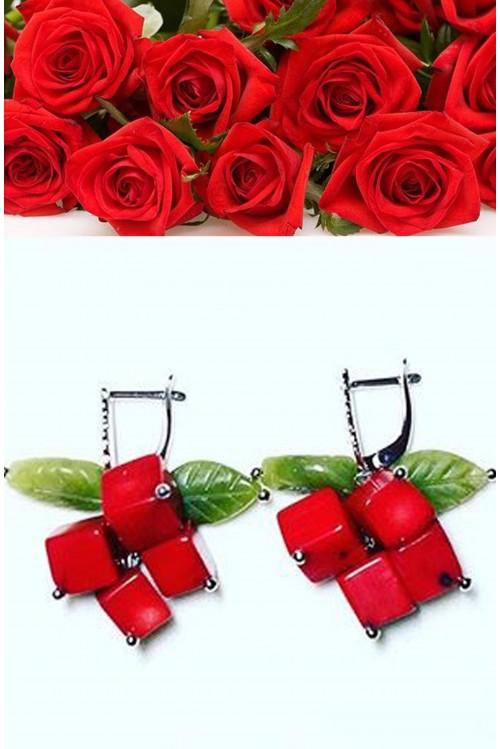 Серьги  Красная роза