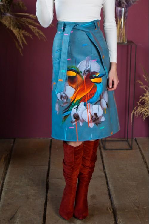 Юбка Теми (Две птицы в цветах) из тёплой ткани