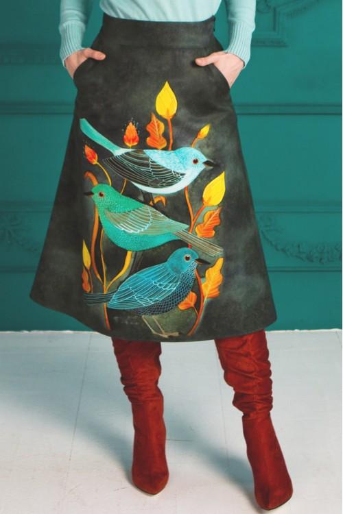 Юбка Тропиканка (Три птицы) из тёплой ткани