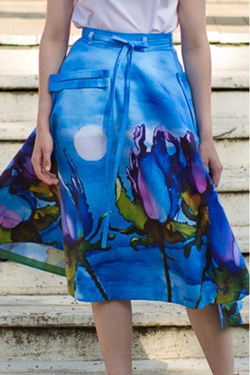 Юбка Валентина (Акварельные цветы) джинсовая