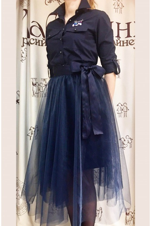 Юбка Романтика (темно-синий)
