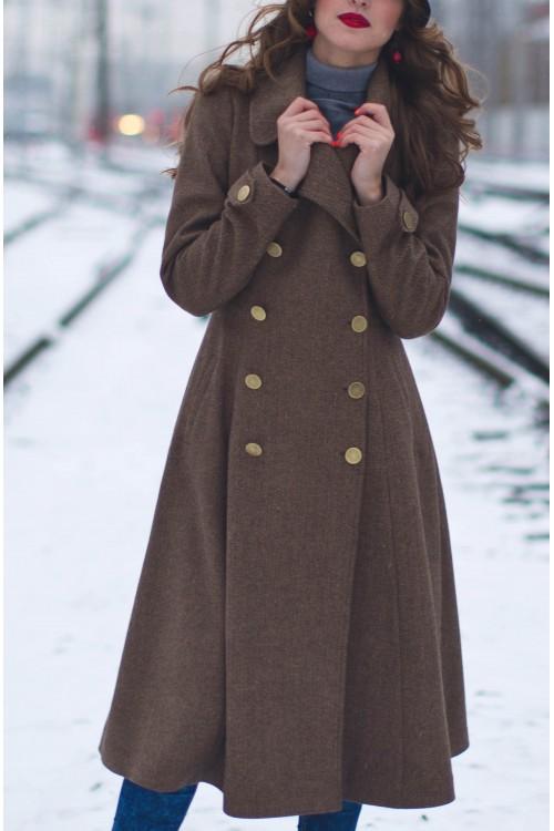 Пальто Бабетта (коричневый, бежевый)