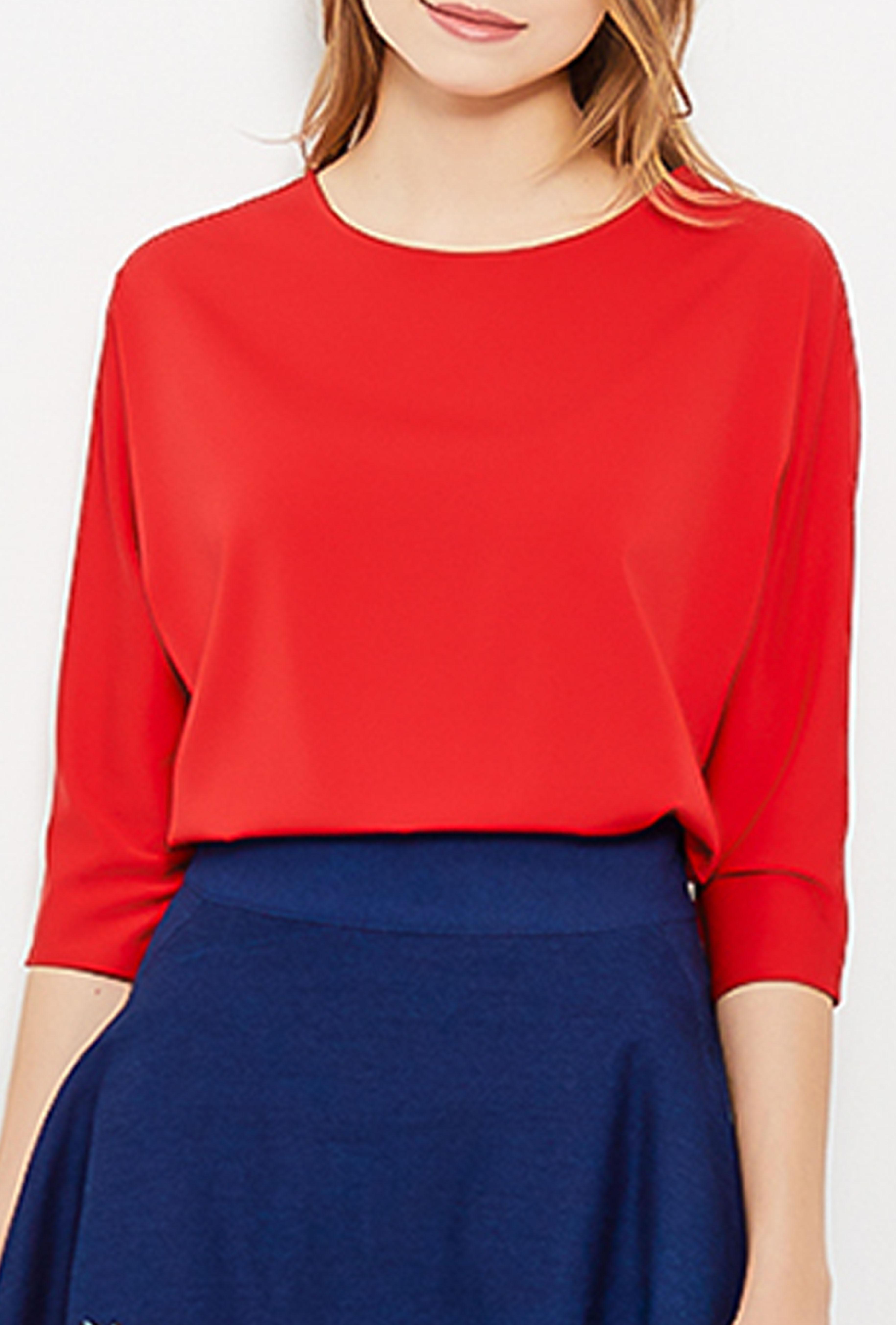 Блузка Летучая мышь (Лето,красный), Белый;бежевый;красный;зеленый;синий;розовый