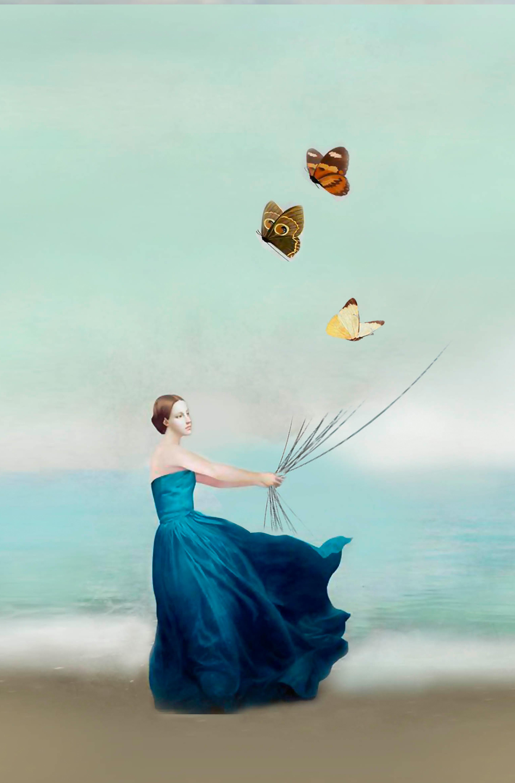 Купить Каталог тканей, Принт Девушка и бабочки, Принт Девушка и бабочки, Лабиринт «Мария Браславская»